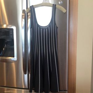 Bebe black and white stretchy a-line dress